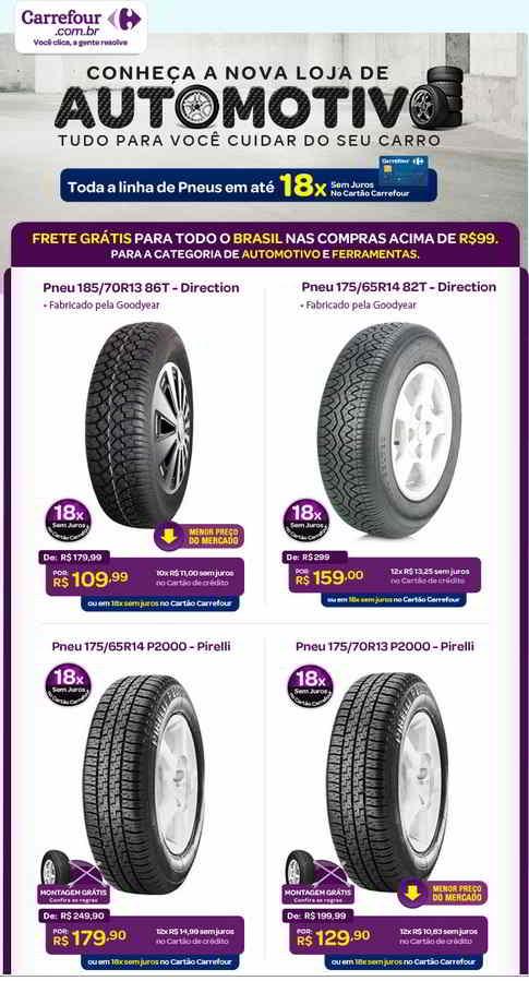 Confira pneus em promoção e aproveite as ofertas imperdíveis do Carrefour (foto: Divulgação)
