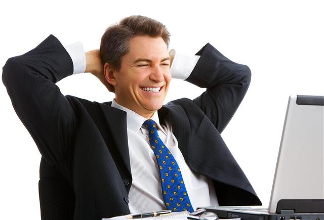 happy man looking at computer (Small)