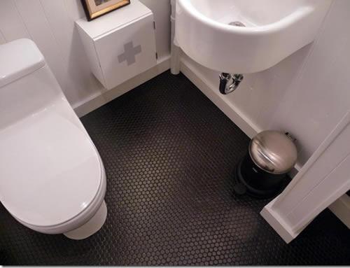 Limpar Banheiro Preto : Fotos de banheiro com piso preto