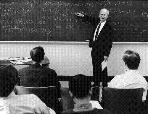 Hans Bethe at the blackboard at Cornell University in 1967