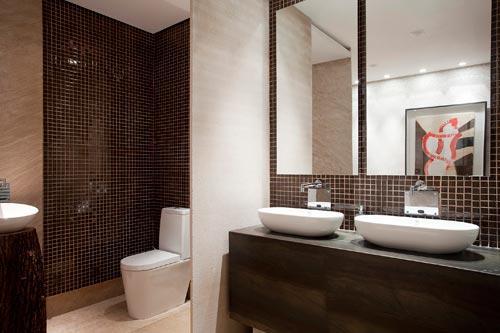 Banheiros decorados com granito -> Banheiro Decorado Com Pastilha Cinza