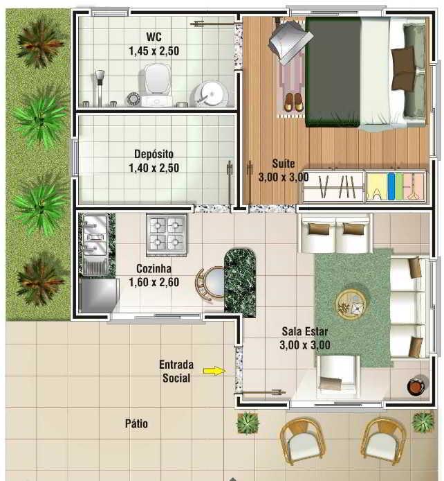 casa com 1 quarto planta gratis