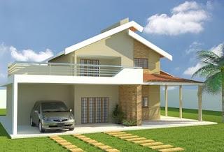 Fachadas de casas com telhado quatro aguas