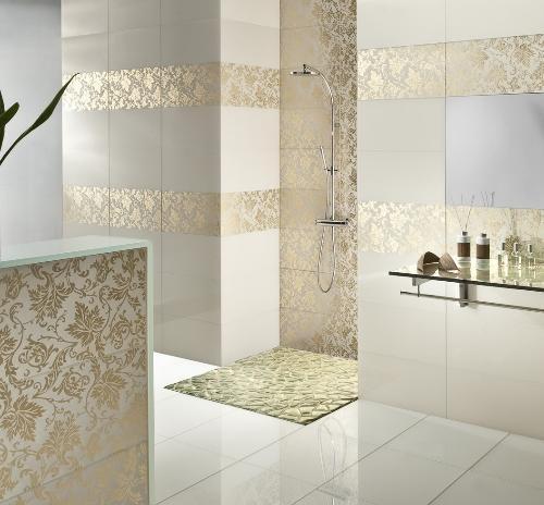modelo de banheiro com azulejo decorado