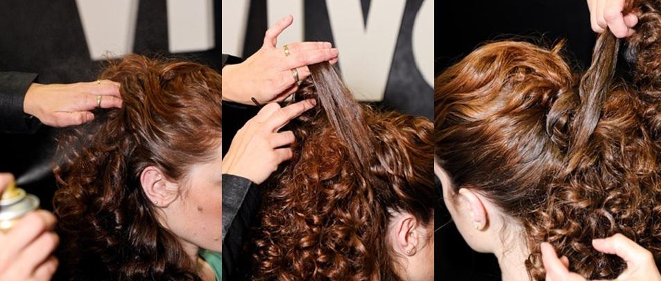 Pentado cabelo Cacheados2 Penteados simples para cabelos cacheados passo a passo