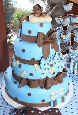 bolo azul marrom