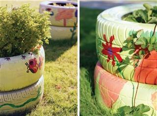 pneus decorados jardins