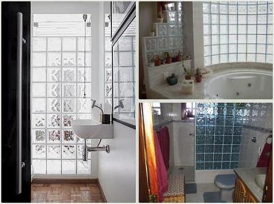 IDÉIAS DE COMO USAR TIJOLOS DE VIDRO -> Decoracao De Banheiro Com Tijolos De Vidro