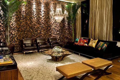 mistura de pedras com diferentes cores tornam a sala de estar