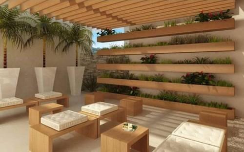fotos de jardim na varandaEm uma varanda com linguagem moderna, pode