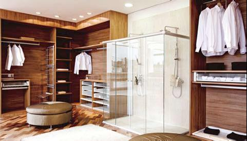 Projeto de closet com  banheiro. (Foto: Divulgação).