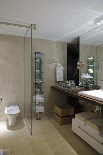 Decoração de parede com cimento queimado -> Banheiro Pequeno De Cimento Queimado