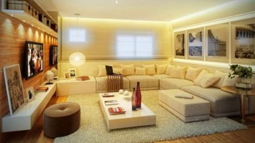 Decoracao De Sala Em L ~ sofá em L com cores claras deixou essa sala bem iluminada e com