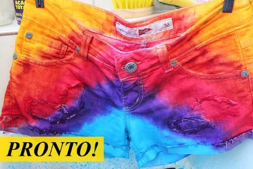 Short colorido Como fazer short colorido com tinta de tecido