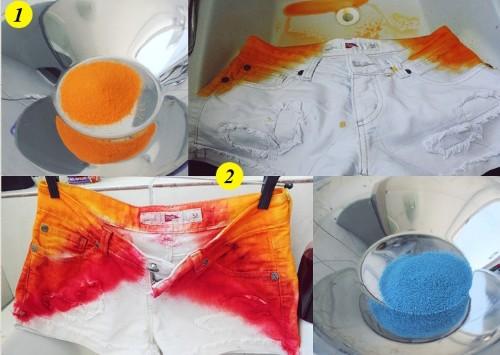 Shorts colorido com tintura como fazer Como fazer short colorido com tinta de tecido