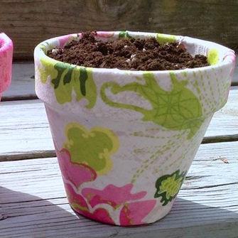 Vaso de planta decorado com tecido