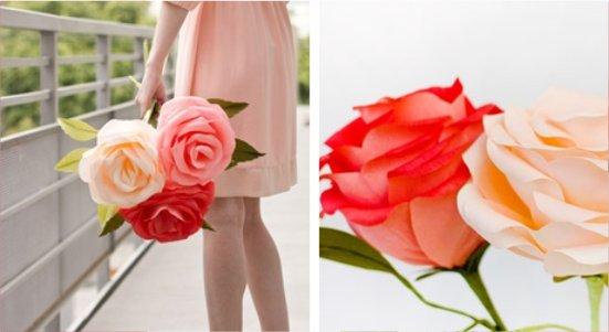Como Fazer Uma Rosa Gigante De Papel Crepom Molde De Flores Papel