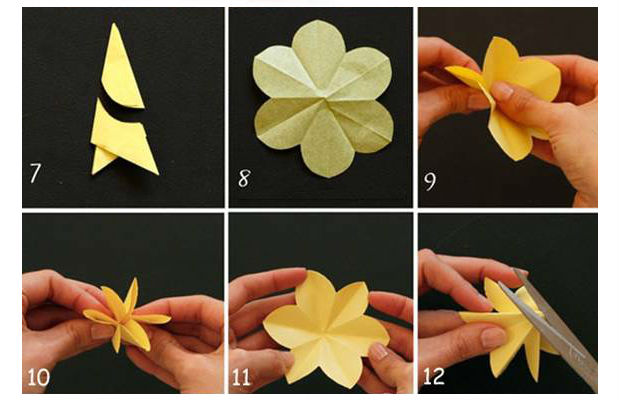 arranjo de flores amarelas de papel passo a passo