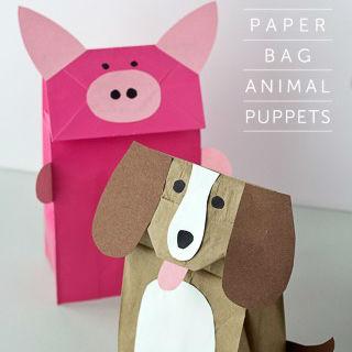 Fantoche de animais de saco de papel