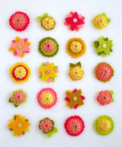 Estas simpáticas florzinhas de feltro decoram de forma delicada (Foto: purlsoho.com)