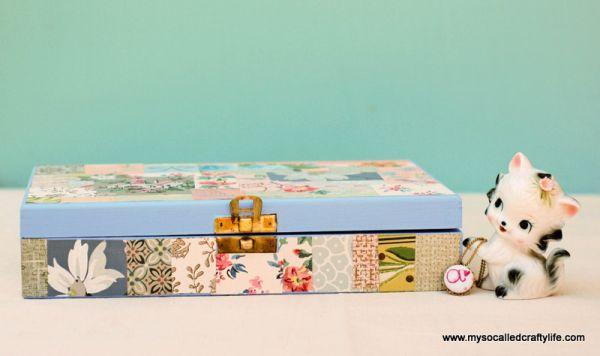 Decorar uma caixa de joias de madeira de forma delicada é muito fácil (Foto: mysocalledcraftylife.com)