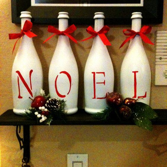 Aparador Sala Ikea ~ 21 Ideias de Enfeites de Natal com Garrafas de Vidro