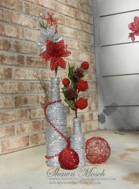 Enfeite De Vidro ~ 21 Ideias de Enfeites de Natal com Garrafas de Vidro