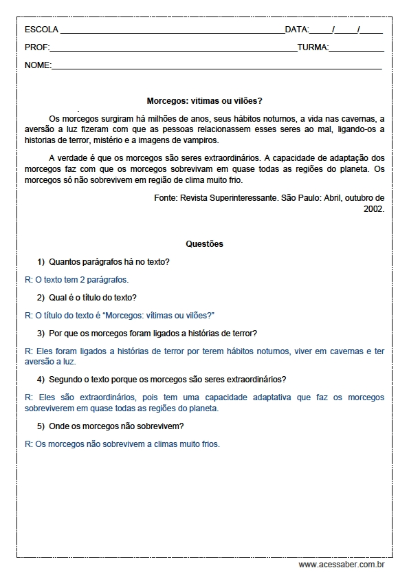 Dicas de Atividades de Português 4° Ano Interpretação de Texto