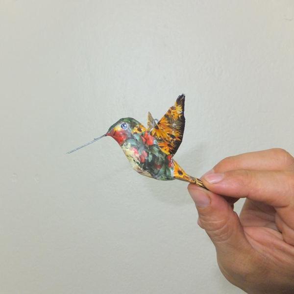 beija-flor em papietagem
