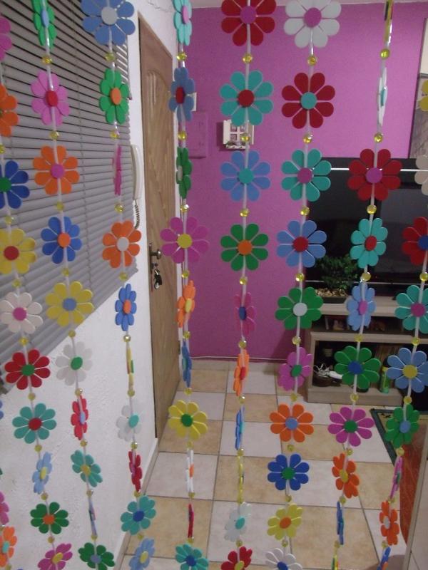 cortina com flores