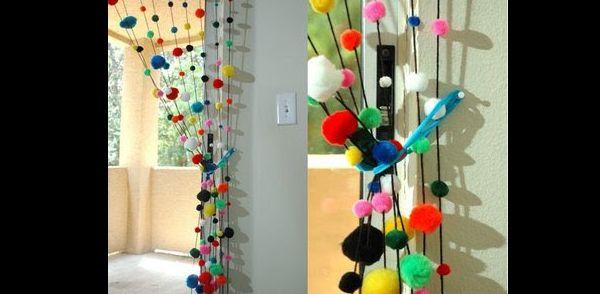 cortina de pompom