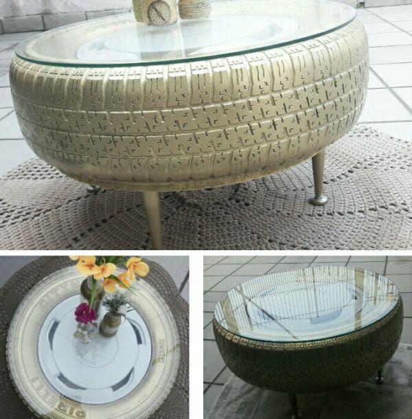 mesa de pneu com vidro simples
