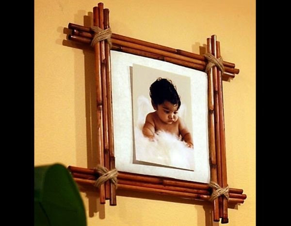 porta retrato de bambu