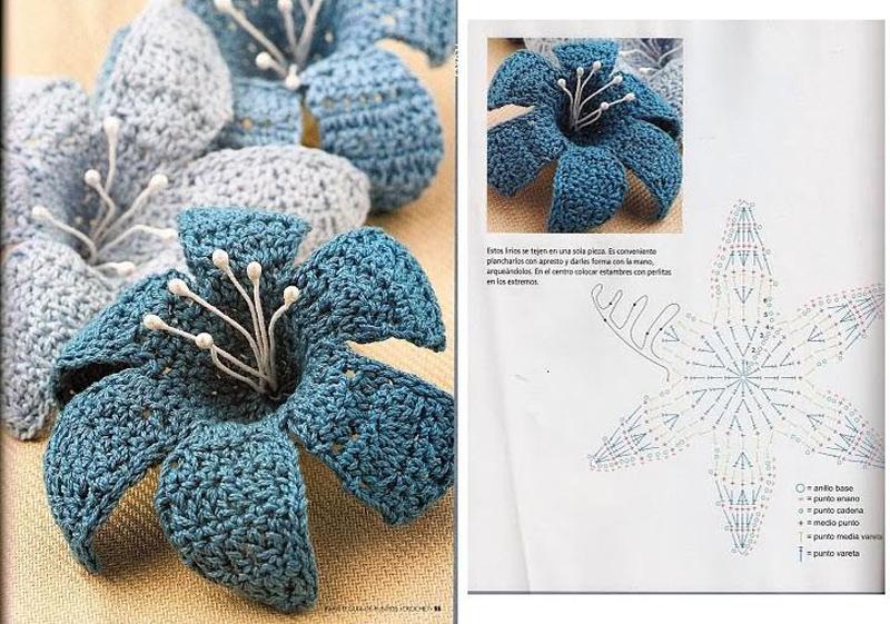 flor de croche com pistilo