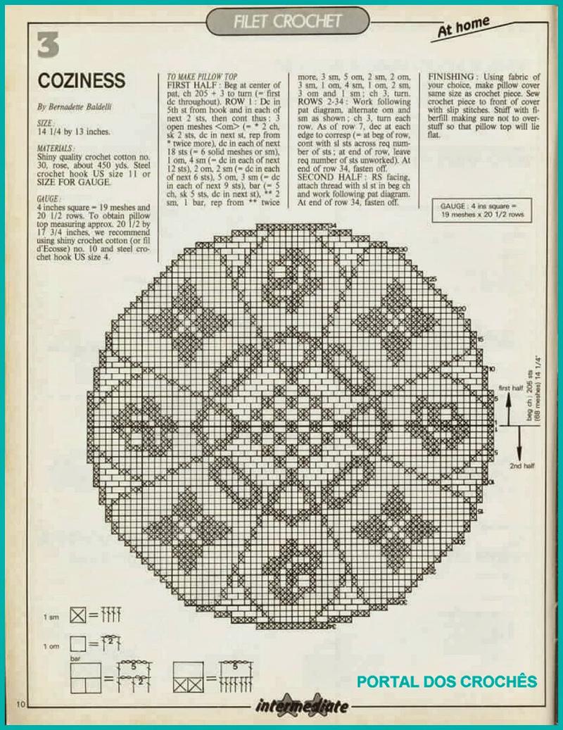 almofada de croche grafico