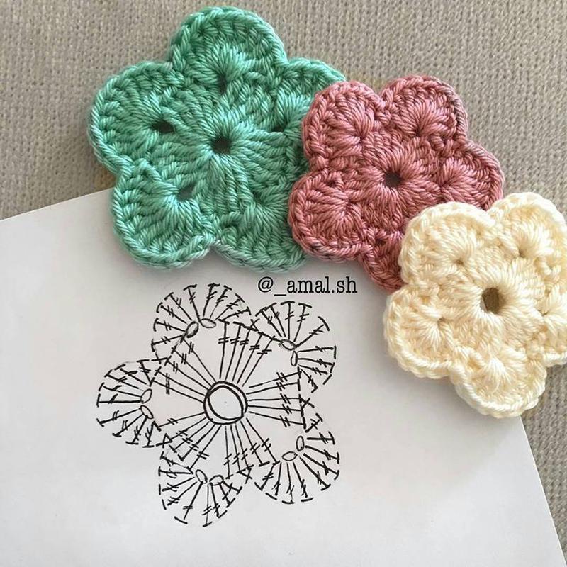 Flores de croch passo a passo com gr ficos - Cosas de ganchillo faciles ...