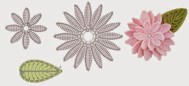 flor de croche rosa