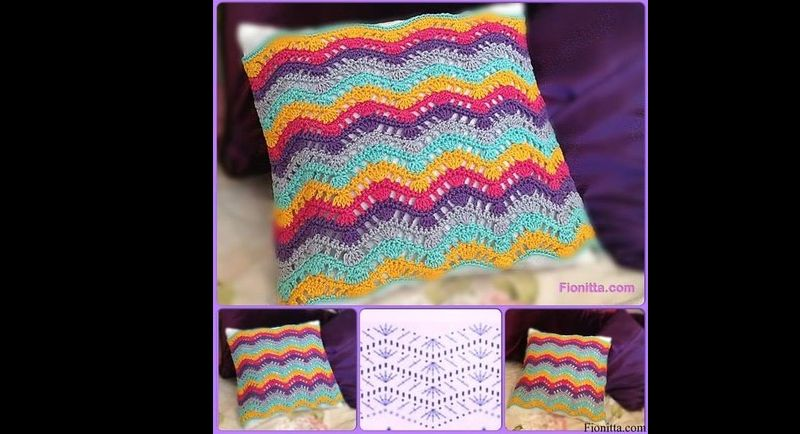 almofada de croche colorida