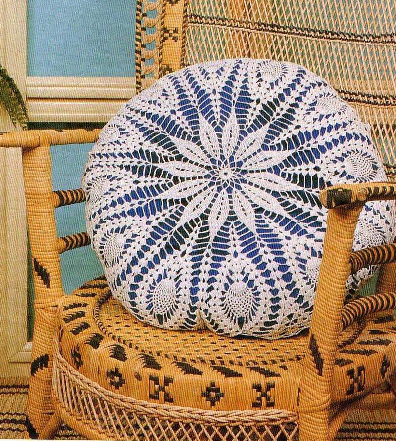 almofada de croche branca