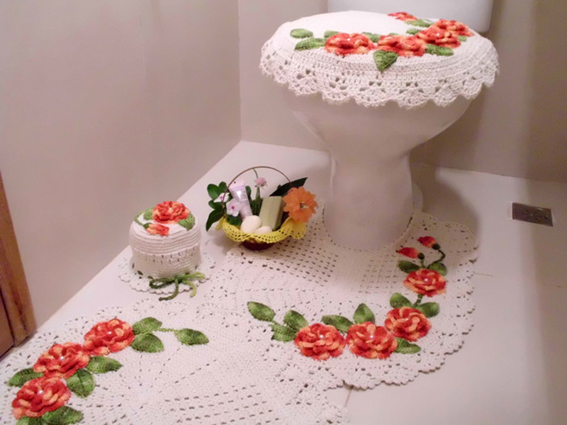 flor de croche para banheiro