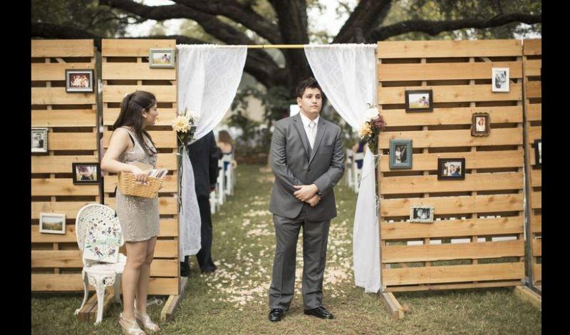 painel de pallet casamento