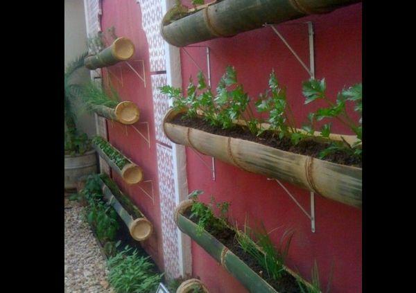 jardim vertical com bambu