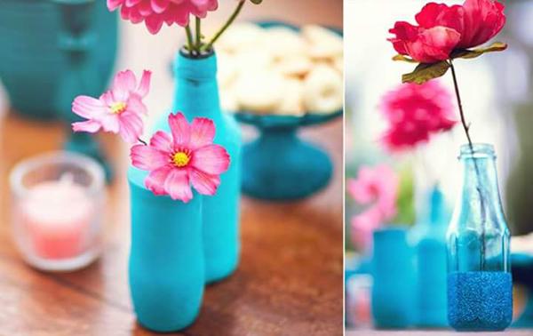 garrafa de vidro azul