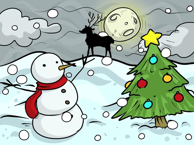 desenho natalino lua e rena