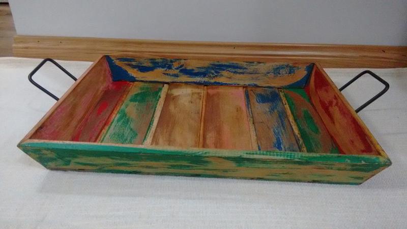 Artesanato com madeira de demolição bandeja funda