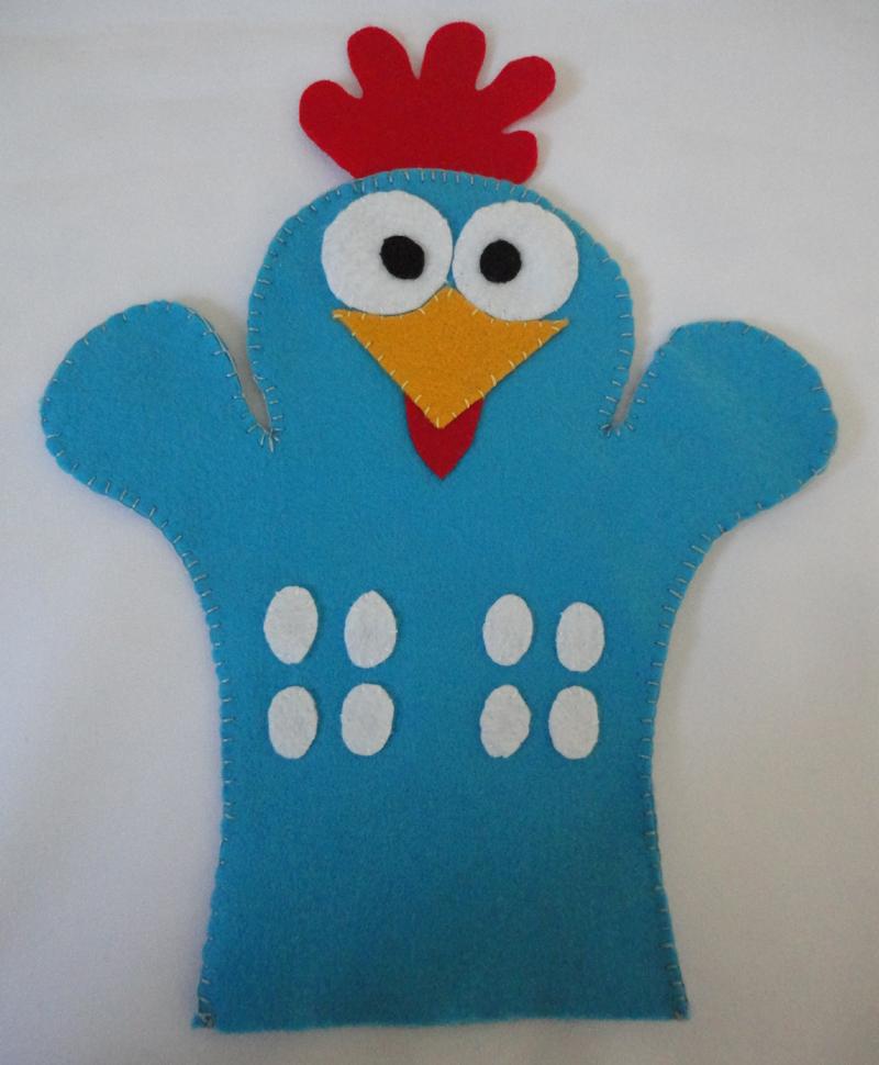 fantoche em feltro galinha pintadinha