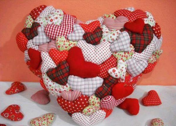 artesanato em tecido coração