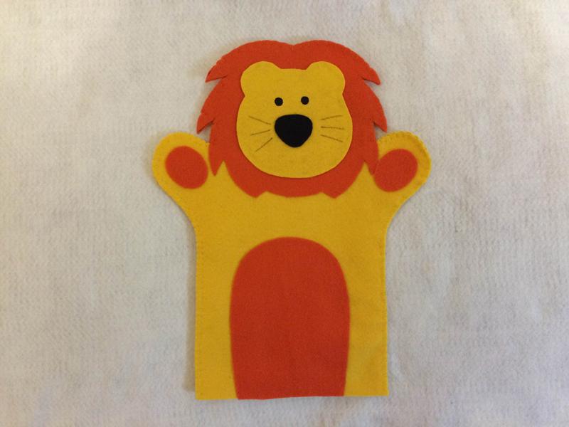 fantoche em feltro leão