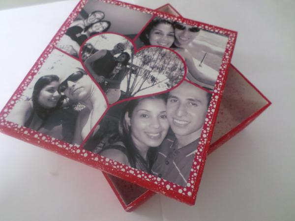 caixa decorada de mdf vermelha