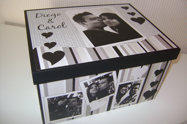 caixa decorada de mdf casal